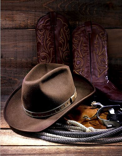 Cowboy Hat: universal image of the American West and Texas; the high crown designed to keep heads cool in high heat, broad brims to shade the eyes and neck. #ata54