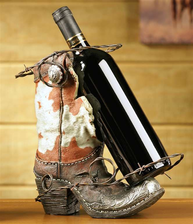 Western Wine Rack with Boot Design-Gifts; Home Decor; Wine Holder; Rustic; Cowboy Boot Wine Bottle Holder; Wine; Boot