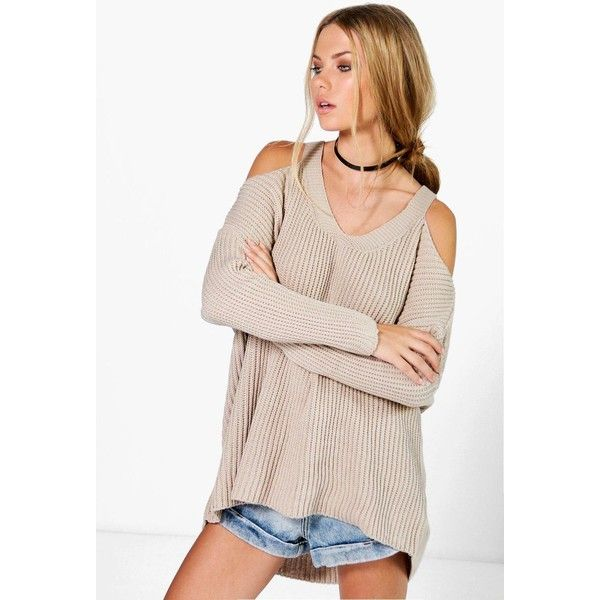 Boohoo Laura V Neck Cold Shoulder Jumper ($20) ❤ liked on Polyvore featuring tops, sweaters, stone, pink sweater, cold shoulder tops, v-neck sweater, open shoulder top and v neck jumper