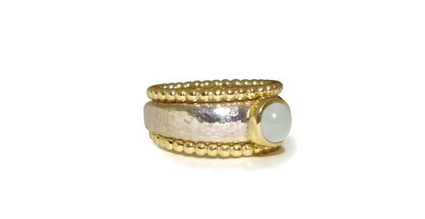 Ring, zilver/goud/aquamarijn