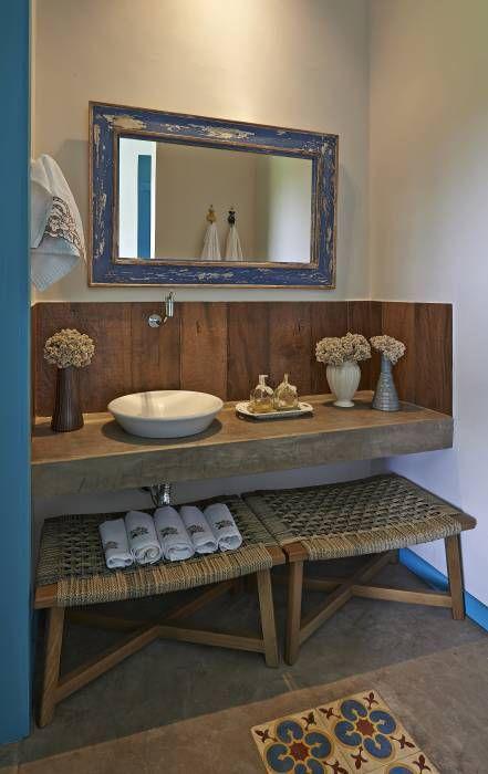 Casas de banho rústicas por Beth Marquez Interiores