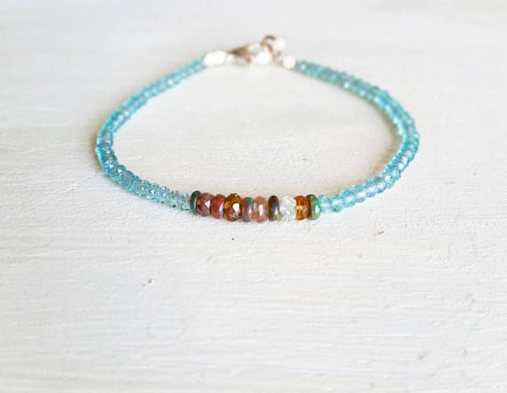 Green Blue Apatite Black Rainbow Opal Tormaline Natural Genuine Gemstone Beaded Stacking Bracelet, Sterling Silver or Gold Filled  38,00 US$