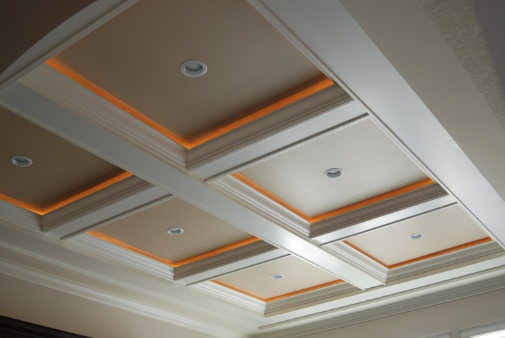 Coffered Ceiling accent lighting - rope lights-- If we add beams across the ceiling to break up the blue, we could also lighten it up with some indirect lighting