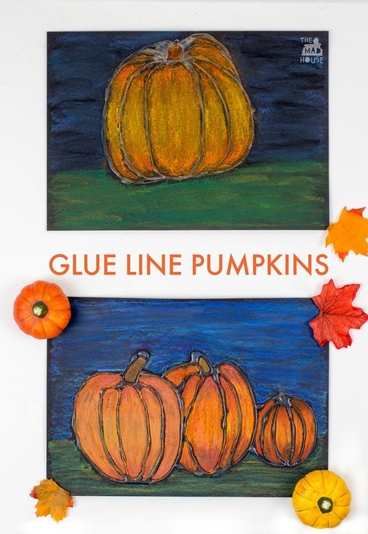 glue resist art project for kids pumpkin - Preschool Halloween Art Projects
