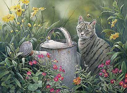 Image result for cats planting flowers