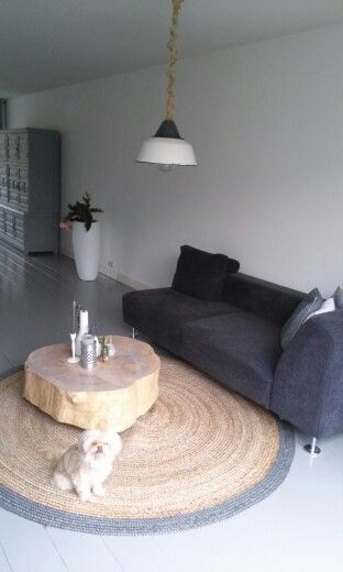 Lounge -painted floor grey - geverfde vloer - woood vloerkleed