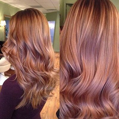 strawberry blonde highlights on brown hair