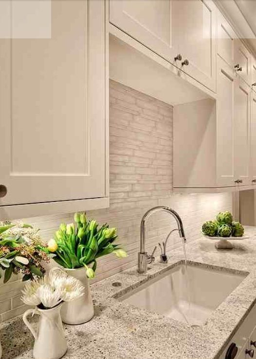 The Irregular Sizes Of The Tiles In The Backsplash Are A Nice Touch. Gives
