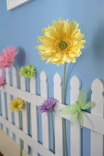 Picket Fence Wall Art.  Would love this for when the girls share a room or for the playroom!!!