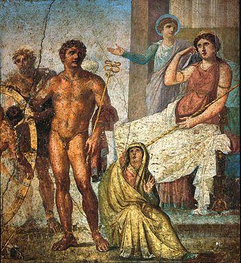 Pintura-Escena de la vida d'Íxion, Casa dels Vettii, Pompeia.