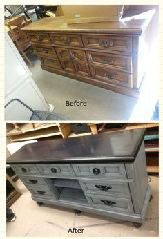 Ugly dresser turned fabulous entertainment center! www.huehomefurnishings.com
