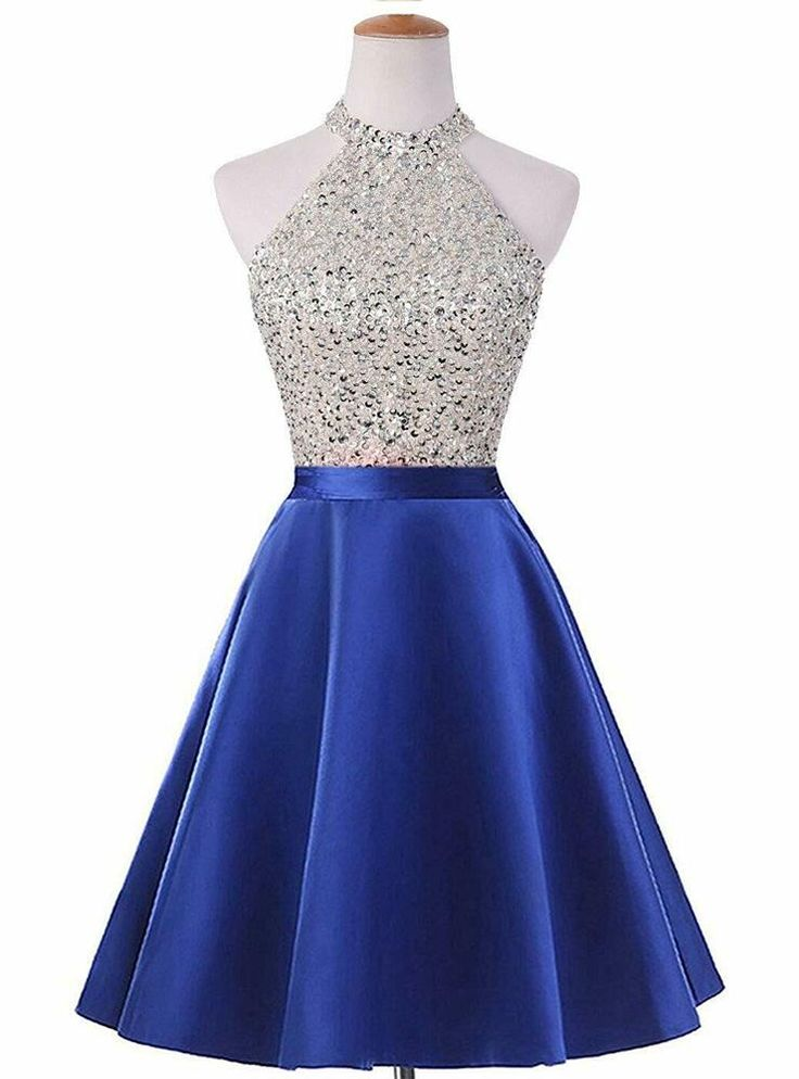 Halter Short Beaded Homecoming Cocktail Dresses Satin Prom Evening Gowns A795 #f…