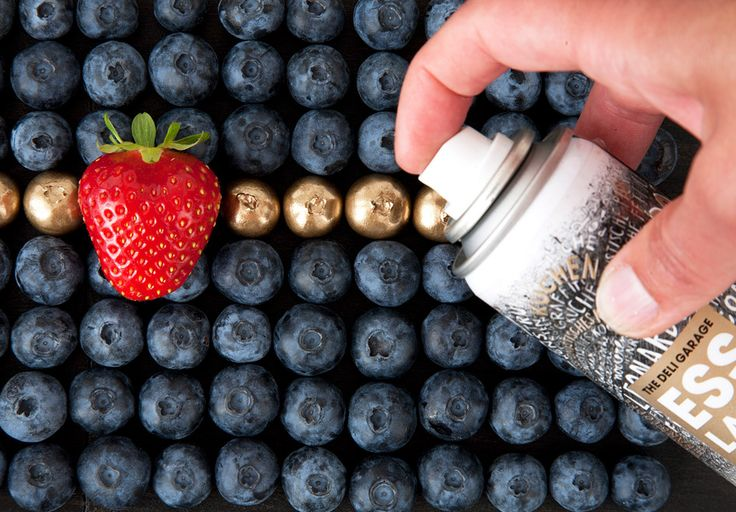 So..... if for some reason you need more artificial coloring in your diet/ shiny food in your life..... there exists edible spray paint. Flavorless, totally non-toxic and.... interesting.