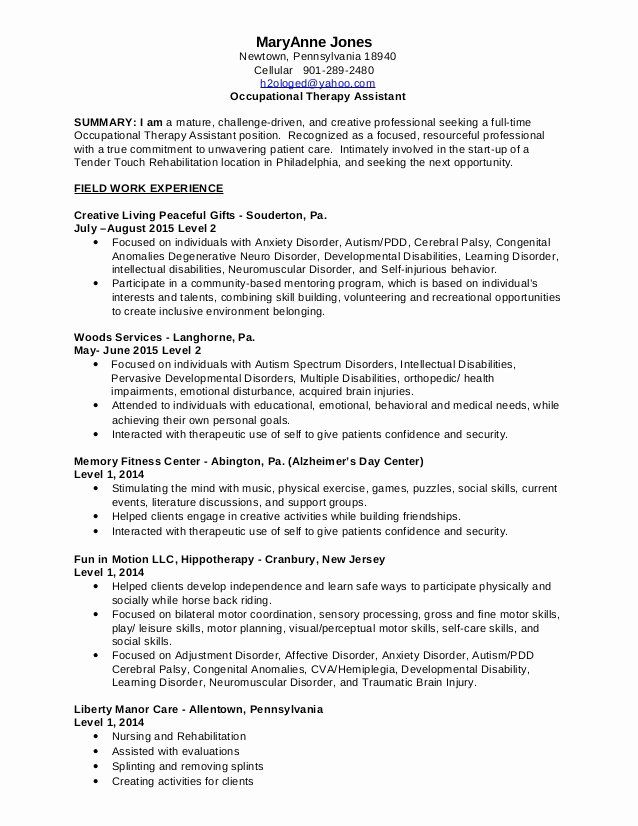 Entry Level Occupational Therapy Resume New 10 30 2015 Mary Anne Jones Occupational Ther In 2020 Occupational Therapy Assistant Occupational Therapy Job Resume Samples