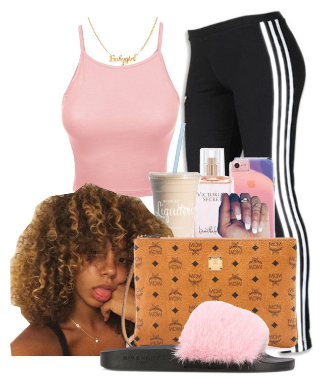 """Untitled #1908"" by melaninprincess-16 ❤ liked on Polyvore featuring adidas, LE3NO, Victoria's Secret, MCM and Givenchy"