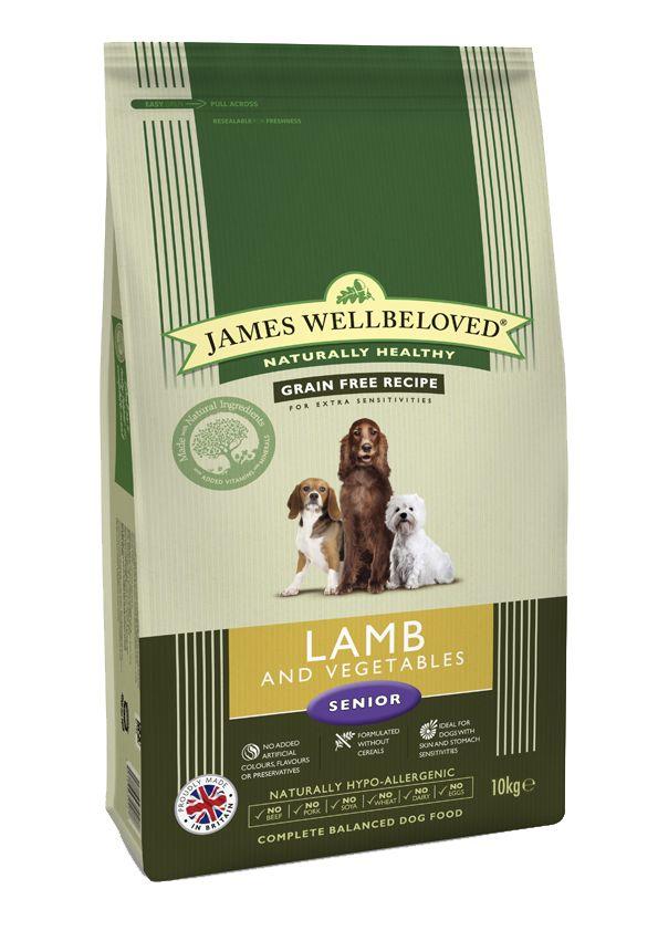 James Wellbeloved Grain Free Lamb Vegetable Senior Dog Food 10kg James Wellbeloved Grain Free Lamb Vegetable Senior Dog Food has been designed with  the older dog in mind.