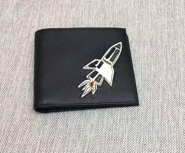 #Prada Summer 2017#Prada Men's Saffiano Leather Wallet Black with Rocket Applique