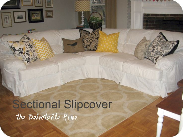 this chic slipcovered one of those puffy ugly sectional sofas : sectional sofa slipcovers - Sectionals, Sofas & Couches