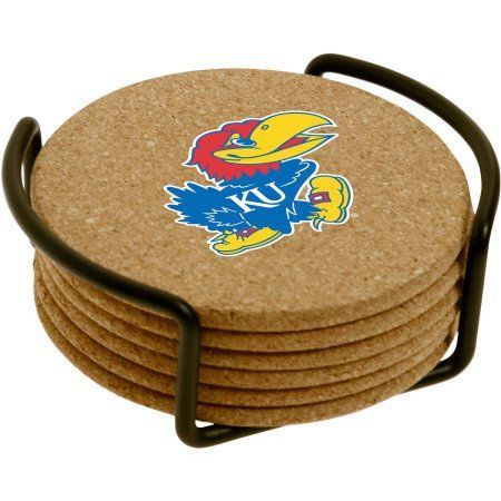 Set of Six Cork Coasters with Holder Included, University of Kansas, Multicolor