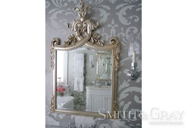 Custom made hand carved mirror by Smith and Gray Furniture Makers. French Inspired Mirror in Silver. Australian Made Furniture.