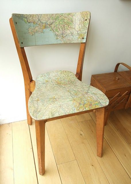 Great old map repurpose! Decoupaged onto a wooden chair ! Upcycle. Recycle. Pretty sharp !
