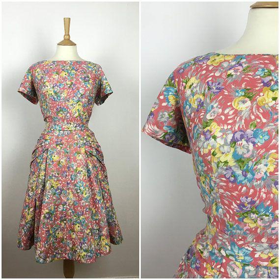 Vintage 1940s Dress  40s Floral Dress  40s Summer Dress