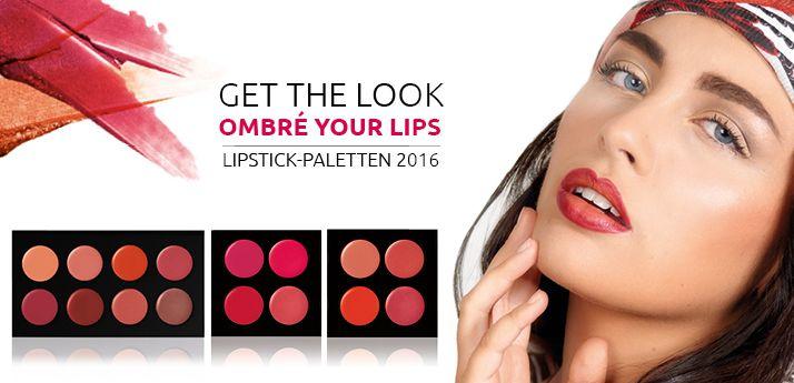 """Ombré your Lips! Das besondere Highlight der neuen Lipstick-Paletten ist die """"Oriental"""", die eine sinnliche Vielfalt aus warmen Orange-, Peach- und Nude-Tönen bietet. Mit dieser Farbvielfalt lassen sich neben Tages- und Abendmake-up auch angesagte Ombré-Looks kreieren. Der neue Ombré-Trend zaubert durch effektvolle Farbverläufe sinnliche und volle Lippen. #lips #lipstick #ombré #makeup"""