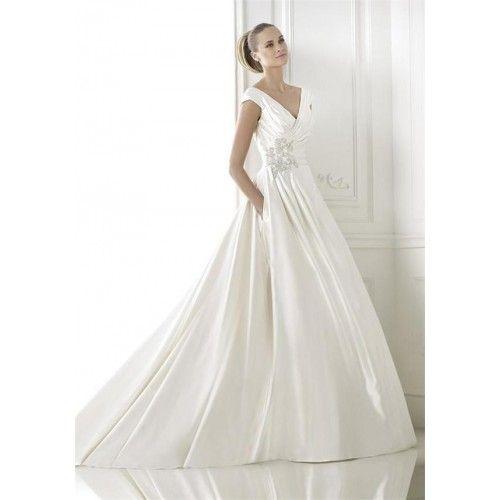 Wholesale Cheap Discount A Line Deep V Neck Chapel Train Satin Wedding Dress Waterford Online