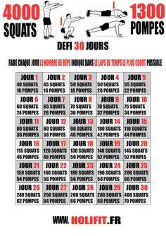 Ce défi fitness peut se rapprocher d'un programme de musculation sans matériel puisqu'il est composé de 2 exercices de bases au poids de corps : les pompes et les squats ! Dans ce défi de 30 jours vous allez réaliser un total de 4000 squats et de 1300 pompes en 30 jours ! Âmes sensibles...