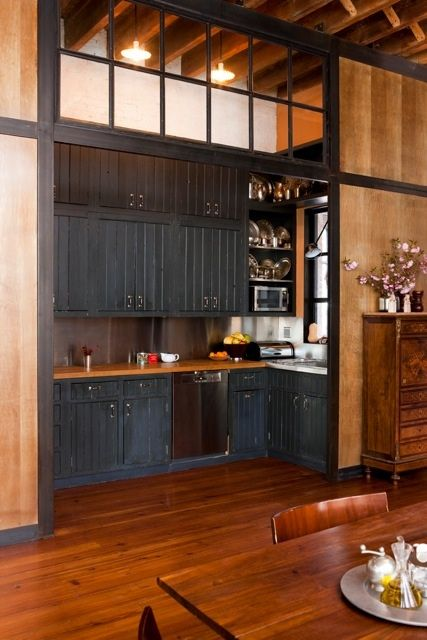 She used old lockers from Coney Island to make the cabinets.  OMG!