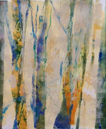 """Daily Painters Abstract Gallery: Contemporary Abstract Landscape Painting """"Tree Rhythms"""" by Intuitive Artist Joan Fullerton"""