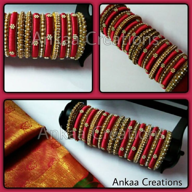 another beautiful bridal silk thread bangles set from Ankaa.. pearl work done on…