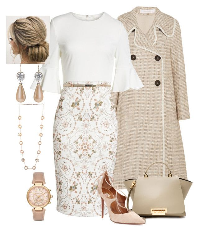 Pink/White/Gold by manda3482 on Polyvore featuring Ted Baker, See by Chloé, Aquazzura, ZAC Zac Posen, Prudence C, Michael Kors and Press