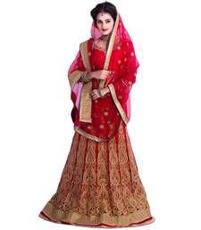 Buy Red georgette embroidered  unstitched lehenga choli ghagra-choli online