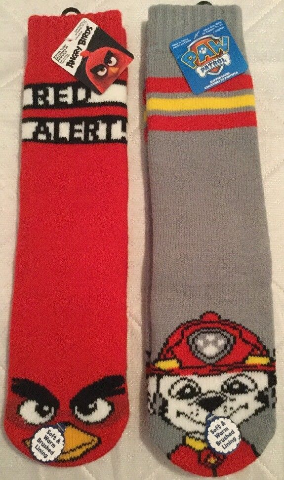 2 pairs Childrens Soft Slippers Socks Angry Birds Red Alert! and Paw Patrol NWT #Nickelodeon