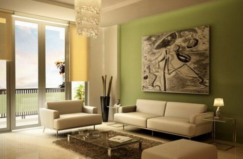 Minimalist modern green wall living room paint ideas.