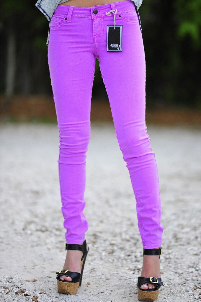 "Neon Orchid Skinny Jeans. They look like the female style of Krist's pants in the ""Heart-Shaped Box"" video. <3"