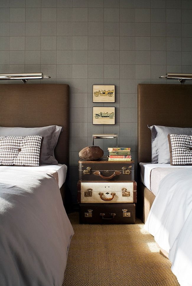 Stacked vintage suitcases used as nightstand in the traditional bedroom  ---  Unique Nightstands For Some Bedside Brilliance