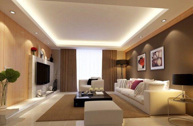Фото: многоуровневый потолок с точечной подсветкой в интерьере гостиной коричневых тонов