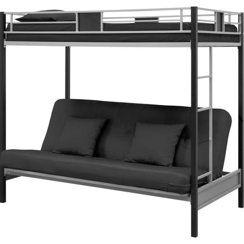 Twin Over Futon Bunk Bed In Silver