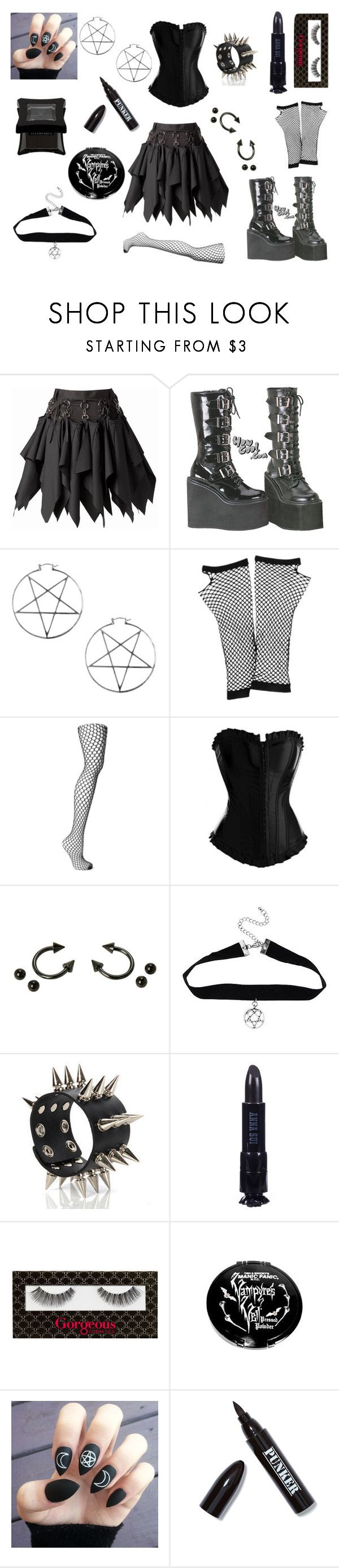 """""""Enoby Dark'ness Dementia Raven Way"""" by xcoffinbangerx ❤ liked on Polyvore featuring Demonia, Me & Zena, Forever 21, Wolford, Hot Topic, deepstyle, Anna Sui, Gorgeous Cosmetics, Ardency Inn and Illamasqua"""