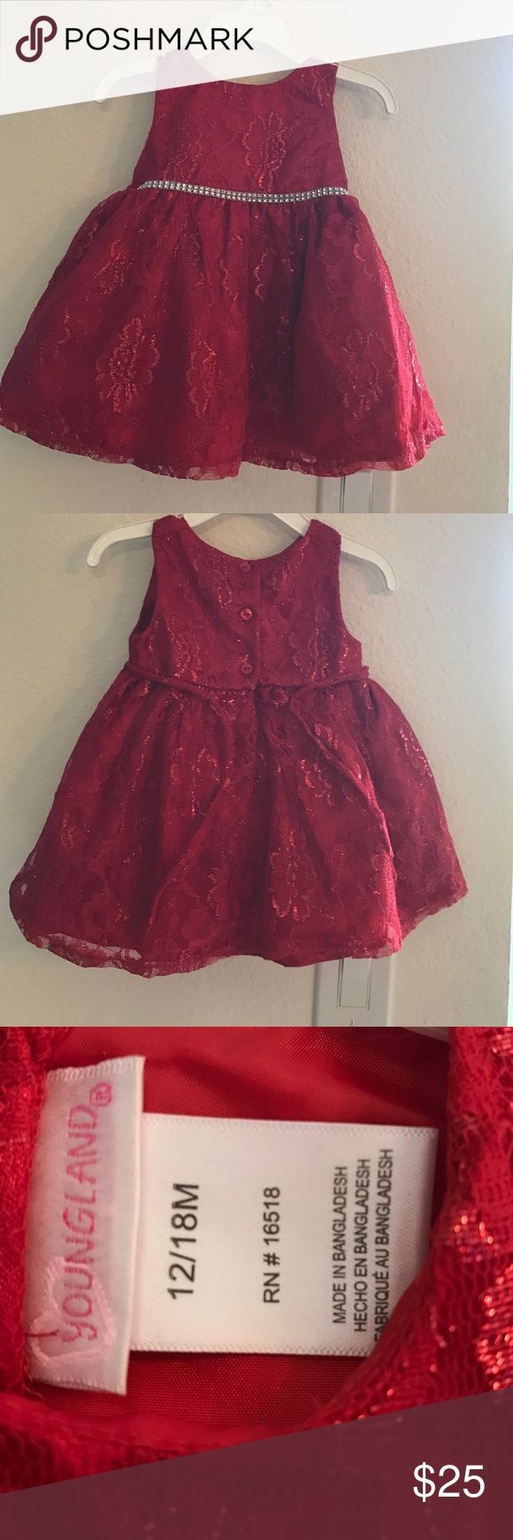 Youngland baby girl holiday dress Size 12 to 18 months. Cute red sparkly lace dress. Petticoat for volume on inside. Worn once for less than a hour. Smoke free home. I do have pets. No stains, rips or tares. Youngland Dresses Formal