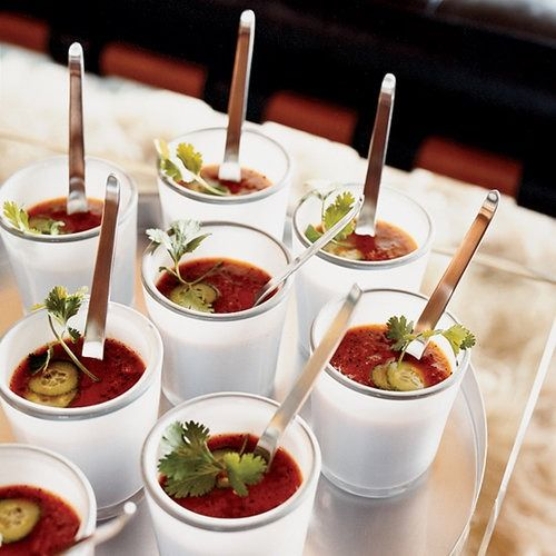 Classic Andalucian gazpacho combines raw vegetables like tomatoes and onions with red wine vinegar for a little kick. Kerry Simon transforms the recipe by using grilled vegetables brightened with a blend of vinegar, orange juice and lemon juice.