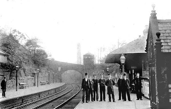 Oughty Bridge Station between 1905 - 1910.  Although the station serves Oughtibridge, the village was referred to as 'Oughty Bridge' by the railways.