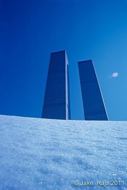 Twin Towers on Ice, World Trade Center, Manhattan, New York City, New York, designed by Minoru Yamasaki, International Style II, construction site | Flickr - Photo Sharing!