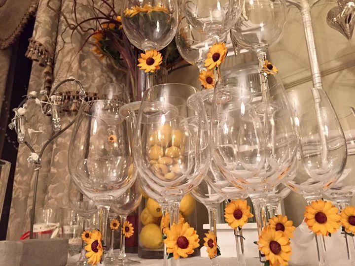 Wedding drinks decorations. Orange, yellow, grey & white theme - Blackbrook House