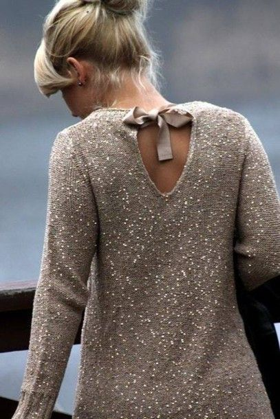 Sparkly sweater with bow tied in back