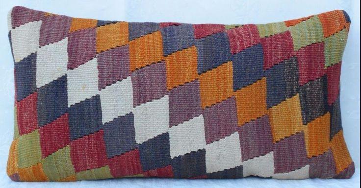 12x24'' Multi Colored Long Kilim Lumbar Pillow Cover,30x60 cm Wool Body Cushion #Handmade