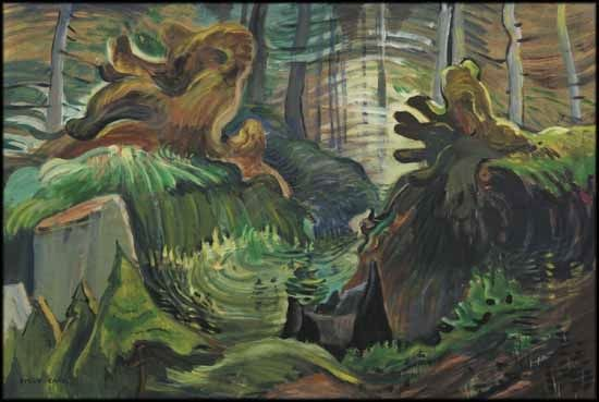 Forest Interior, c. 1935-38, Emily Carr. oil on paper on board. private collection