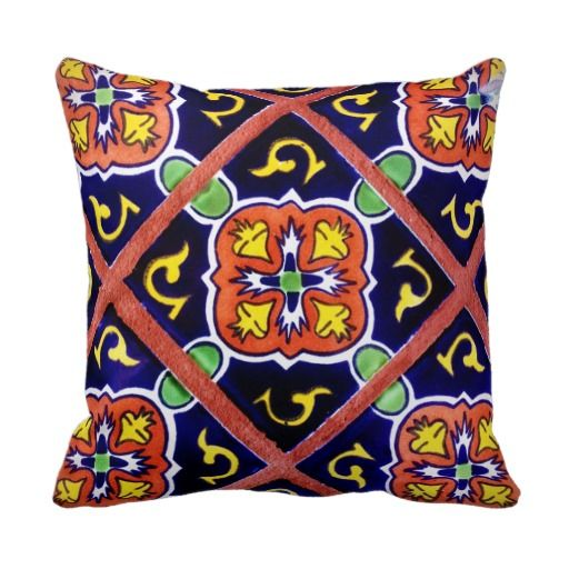 Southwestern Tile Design Cobalt Blue Throw Pillow or Accent Cushion